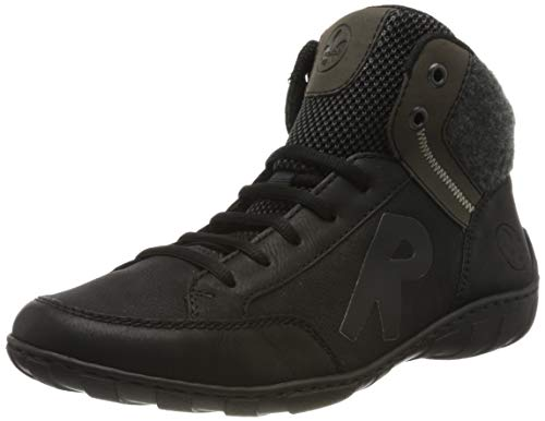 Rieker Damen M3740 Hohe Sneaker, Schwarz (Schwarz/Schwarz/Graphit/Anthrazit/Schwarz 02), 39 EU