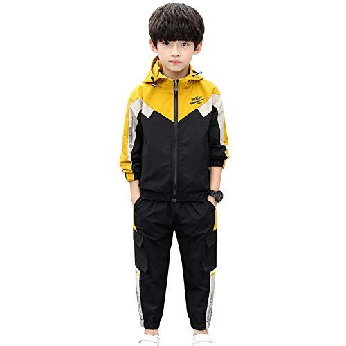 LSHDCER Kinder Jungen Jogginganzug Jogging Hose Jacke Sportanzug Sporthose Fitness Hoodie, Gelb, 134/140