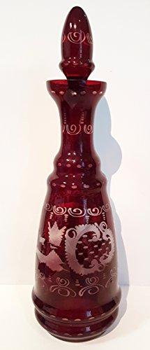 Egermann Glas Karaffe Antik böhmisches Glas rubin rot Likörflasche handgeschliffenenes Aussendekor antikes Kristallglas Vase mundgeblasen Höhe ca. 35 cm