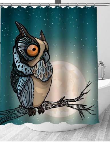 SFSDF Cortina de Ducha Cortinas de Ducha Moon and Owl Cortina de Ducha Creativa Baño Tela de poliéster Impermeable 180X200cm con Gancho