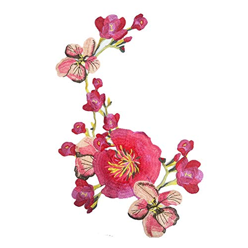CAOLATOR Blumen Applikation Patches Aufnäher zum Aufbügeln Spitzenborte Flicken Patch Spitze Aufbügler Bügelbild Aufnäher, Rot