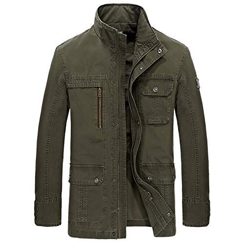 Men's Faux Leather Jacket Biker Fashion Cotton Coats Casual jacket top loose-army green_XXXL