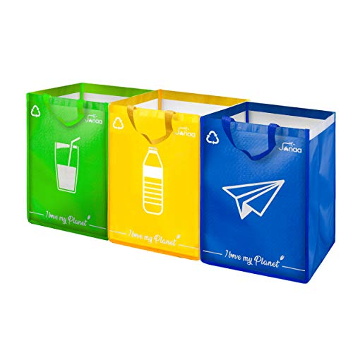 Janaa {Design} Behälter zum Sortieren – Mülleimer 3 Fächer zur Sortierung von Glas, Kunststoff (40L) und Papier