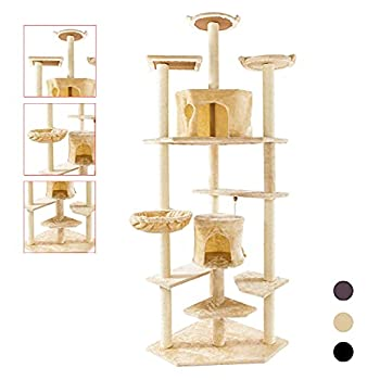 Tall cat Tree,Cat Trees and Towers Tall,Tall Cat Tower|Kitty Mansions,Kitty Condo,Kitty Tower,Kitten Tree,Kitten Essentials|Cat Gym,Cat Activity Trees,Cat Play Tower for Indoor Cats,80 ,Beige