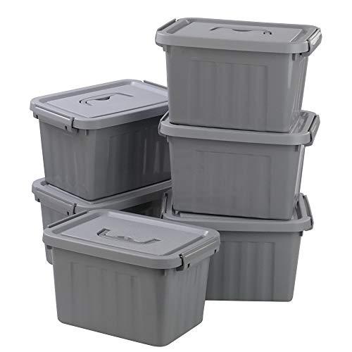 Readsky 6 Quart Plastic Latch Boxes Plastic Storage Bin Gray Pack of 6