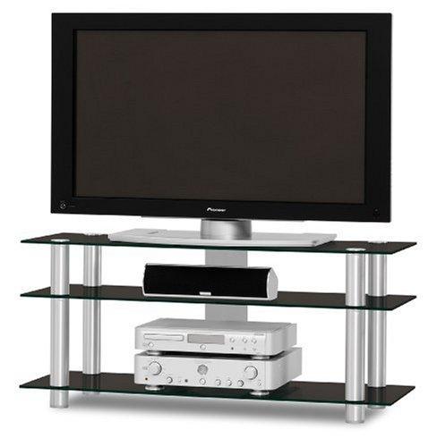 Just-Rack TV 1203 Aluminium-Schwarzglas Universalmöbel für Flachbildschirme, TV - und Audio Geräte