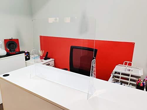 Mampara de protección Regulable - Mostrador, oficina, comercio, restaurante - Metacrilato transparente - 100x67cm a 100x82cm