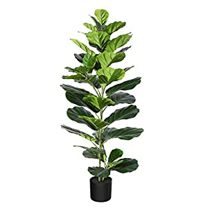 Silk Flower Arrangements DR.Planzen Artificial Plants Fiddle Leaf Fig Tree 4 Feet Fake Plant in Black Pot Faux Ficus Lyrata with 44 Leaves for Indoor Home Office Décor(1 Pack)