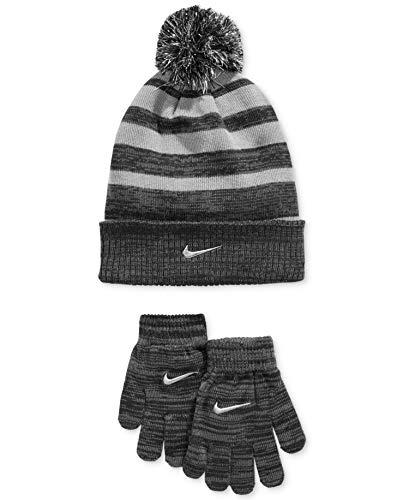 Nike 2-Piece Premium Big Boys Knit Hat & Glove Set, Grey Black Stripe, Metallic Silver Swoosh, 8/20