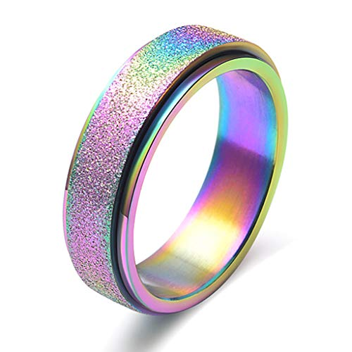 VVXXMO Women Men Fashion Stainless Steel Spinner Rings,Stress Relief Adults Kids Toy