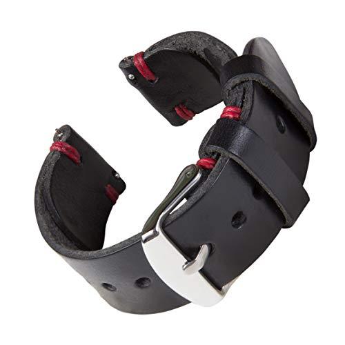 Archer Watch Straps - Handgefertigtes Horween-Lederarmband aus echtem Leder mit Schnellverschluss (Schwarz/Roter Faden, 20mm)