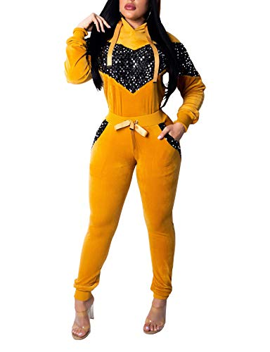 LightlyKiss Sequins Velour Outfits 2 Pieces Sleeves Hoodie