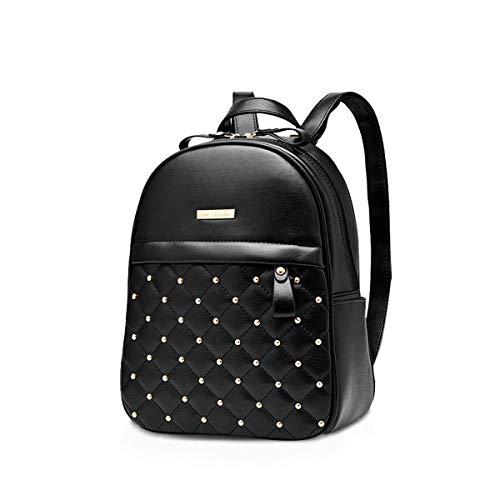 NICOLE & DORIS Damen Mode Rucksack Schultasche Rucksack Umhängetasche mit Niet Leicht Gitter Beiläufig Tagesrucksack PU Leder Schwarz
