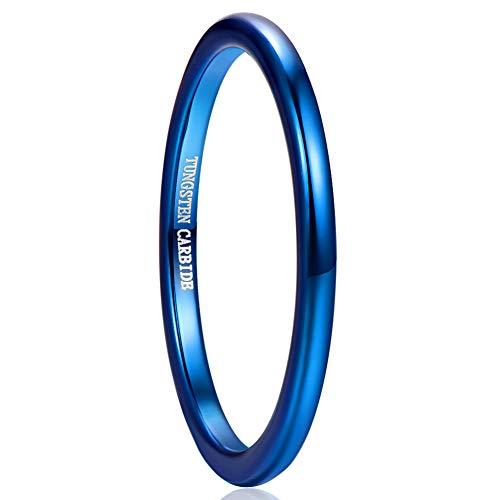 Vakki 2mm Hartmetall Verlobungsband für Männer Frauen Blau Hochglanzpolierter Ehering 56(17.8)