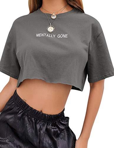 Crop Tops Damen Sommer, Teenager Mädchen Mode Mentally Gone Stickerei Bauchfrei Oberteile Locker Casual Sport Blusen Shirt Hemd Kurzes Tank Top Frauen Kurzarm T-Shirt Pullover Sale (Grau,S)