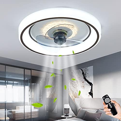 Ventilador De Techo Con Iluminación Y Control Remoto LED Luces De Techo Silenciosas Ultrafinas 55W Ventiladores Regulables Lámpara Colgante Sala De Estar Dormitorio Fans Candelabro Luz De Techo 50Cm