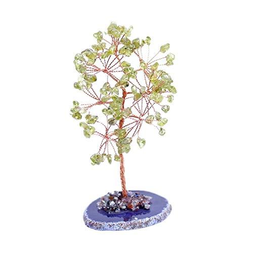Bonsai Feng Shui Money Tree Árbol de dinero de cristal de cristal verde verde oliva verde Árbol de la gema verde de la cura de la oficina de la oficina de la oficina de la oficina de la oficina de la