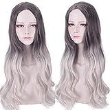 Pelucas de mujer pelo largo y rizado punto medio peluca de teñido de onda grande set negro degradado plata blanco