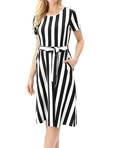 Women's Casual Short Sleeve Striped A Line Swing Midi Dress with Belt $8.80 (60% Off with code)