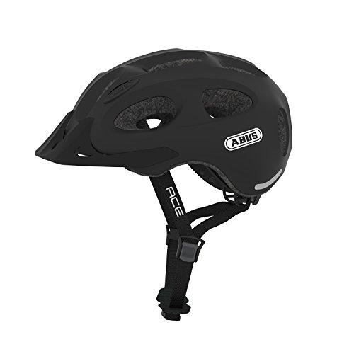 ABUS Stadthelm Youn-I ACE - Fahrradhelm für den Alltag - mit integriertem LED-Rücklicht - für Damen und Herren - Schwarz Matt, Größe L