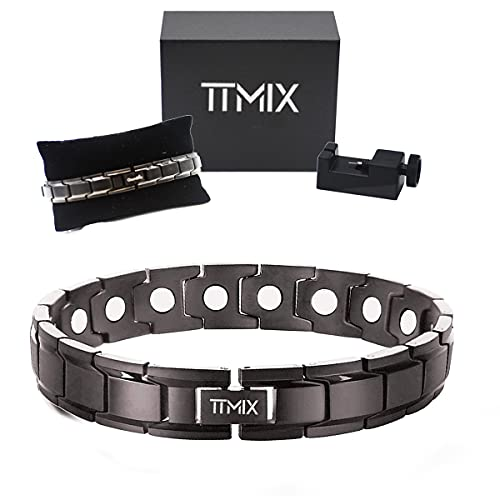 Pure Titanium Magnetic Therapy Bracelet Extra Strength 5000 Ga Magnets for Womens Mens Health Arthritis Pain Relief with Premium Gift Box