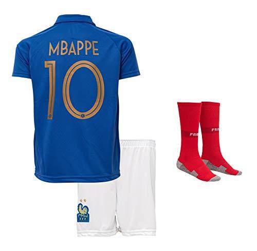 Frankreich Mbappe #10 2018 Heim Trikot und Shorts mit Socken Kinder und Jugend Größe (140-6-7 Jahre, Heim)