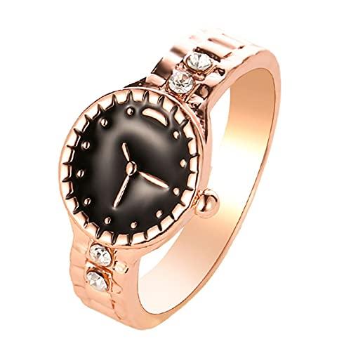 XPT Reloj de moda forma anillo de diamantes de imitación aleación puntero redondo dial par dedo anillo para regalo de fiesta oro rosa*US 7