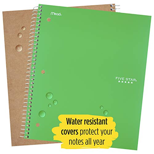 """Five Star Spiral Notebook, 1 Subject, College Ruled Paper, 100 Sheets, 11"""" x 8-1/2"""", School, Wired, Green (72055) Photo #3"""