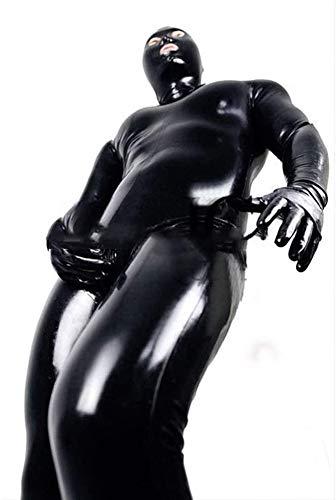 Herren Glänzendes Lackleder Catsuit Ganzkörper-Men Design Sexy Latex Eng Zipper Jumpsuit Gummi Kleidung mit Schrittgurt Reißverschluss,Schwarz,XL