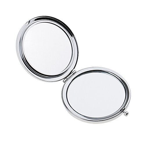 CUTICATE 2pcs Kompaktspiegel | Klappbarer Runder Taschenspiegel Doppelseitiger - Silber