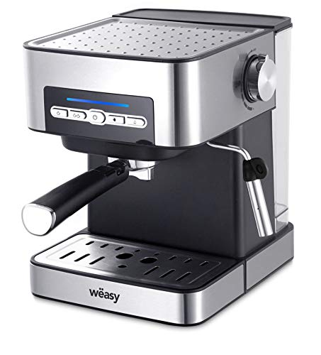 Wëasy KFX32 Kaffeevollautomat, automatisch, manuell, Druck 20 bar, Edelstahl, tragbar, 4 Modi, Tank 1,6 l, Tassenwärmer, Dampfdüse, Filter & Messlöffel inklusive, Kaffee und Milchgetränke