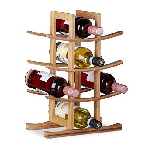 Relaxdays Weinregal Bambus, kleiner Weinständer für 12 Flaschen, 4 Ebenen, liegend, freistehend, HBT 42,5x30x16cm, natur