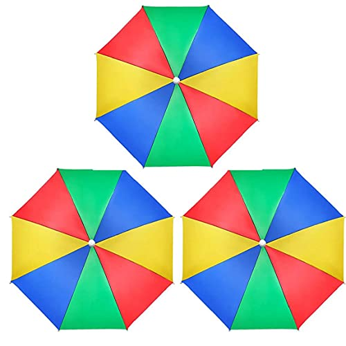 Cabeza Paraguas Sombrero, 3 Pedazos Port¨¢Tiles Impermeables Paraguas del Arco Iris Gorras para Adultos Pesca Al Aire Libre De Los Ni?os Jardiner¨ªa Camping