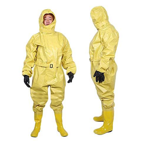 QICLT Flüssigkeitsdichter Infektions Schutzanzug Mit PU-Handschuhen Flammhemmende, chemikalienbeständige, spannungsbeständige, durchstichhemmende Stiefel,Yellow,M