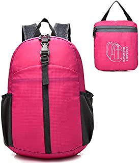 Epicgadget Lightweight Water Resistant Travel Daypack Hiking Camping Outdoor Foldable Backpack (Pink)
