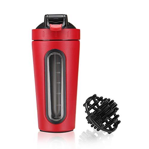 Slimerence Eiweiß Shaker, Nutrition Fitness Shaker Protein Shaker Bottle Edelstahl mit Shaker Ball Gratis Mixer Cup BPA frei für Gym Workout Fitness 700ml