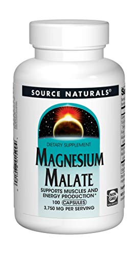Source Naturals Magnesium Malate 3750 mg Per Serving Essential Magnesium Malic Acid Supplement - 100 Capsules