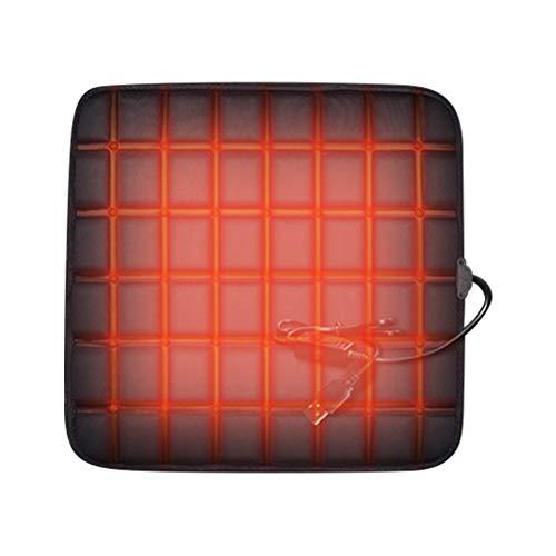 Mgsiko Auto Sitzheizung Heizkissen Heizauflage Heizstufe beheizbar Kissen, Heizung Auto Sitzkissen aus Polyester, USB Komfort Sitzkissenheizung für Kaltes Wetter, 12V schwarz