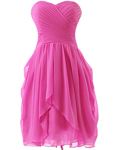 HUINI Kurz Ballkleider Chiffon Traegerlos Brautjungfernkleid Partykleider Rueschen Abschlussballkleid Hot Pink 48