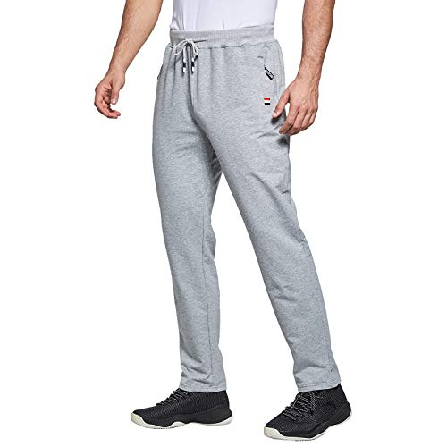 JustSun Mens Jogging Bottoms Slim Fit Casual Joggers Bottoms Sports Trousers with Elastic Waist Drawstring Zipper Pockets Light Grey UK Small