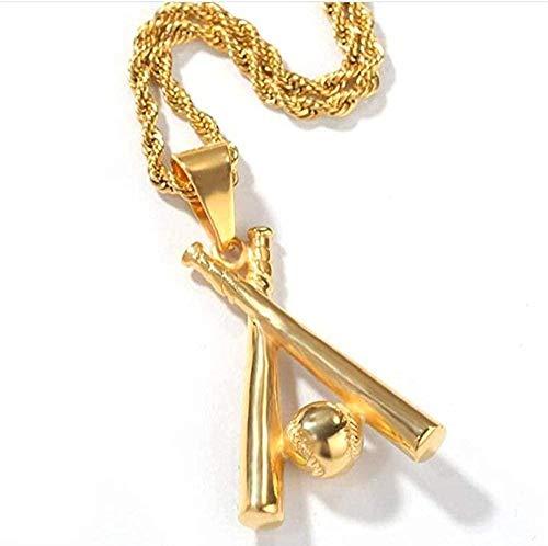 NC198 Collar Collar Cadena de Hip Hop Béisbol de Acero Inoxidable Bling Iced out Colgantes y Collares de Color Dorado para Hombres Joyería Dropshipping