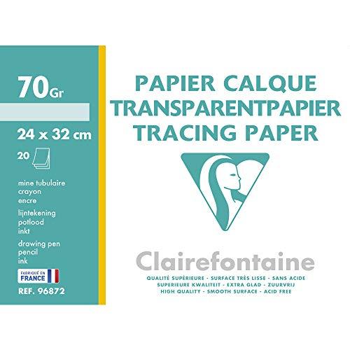 Clairefontaine 96872C - Une pochette de Calque supérieur 20 feuilles 24x32 cm 70/75g
