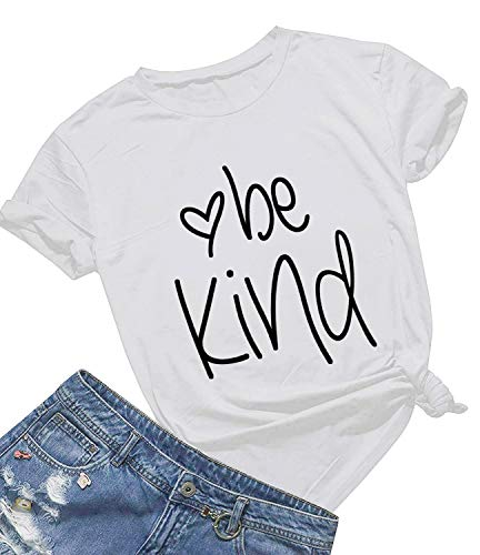 Be Kind T Shirts Women Cute Graphic Blessed Shirt Funny Inspirational Teacher Fall Tees Tops (XL, White01)