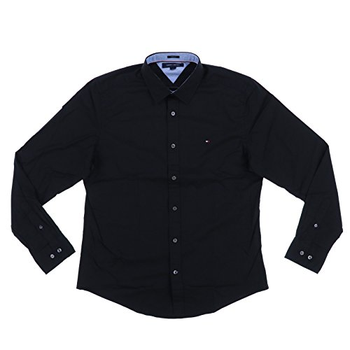 Tommy Hilfiger Mens Stretch Button up Shirt (S, Black)