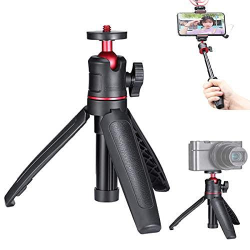 """HAFOKO MT-08 Mini trípode sobremesa Vlogging Extension Selfie Stick Empu?adura de Mano on rótula Flexible de 360°Mango de Montaje con Tornillo de 1/4"""" Compatible con Smartphone Cámara (Soporte1,5kg)"""