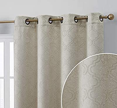 HLC.ME Redmont Lattice Geometric Thick Soft Thermal Insulated Energy Efficient Room Darkening Privacy Blackout Grommet Curtain Panels for Bedroom - Set of 2 Panels (54 x 84 Inches Long, Beige)