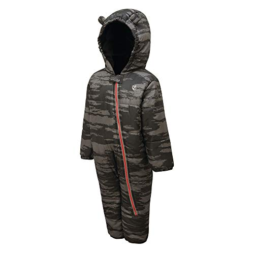 Dare 2b Kinder Bambino Waterproof Breathable High Insulated Hooded Character Rain Snowsuit with Side Leg Access and Integrated Snow Gaiters Lifthose, Grau (Ebenholzgrau Camouflage), 36-48 Monate