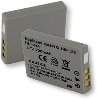 720mA, 3.7V Replacement Li-Ion Battery for Sanyo DB-L20 Digital Cameras - Empire Scientific #BLI-244