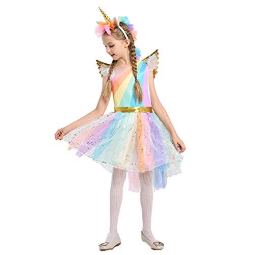 BESTOYARD Costume de licorne pour enfant - Robe de soirée avec corne de licorne, bandeau pour fille - Costume de princesse et fleurs - Robe de soirée (grande taille, 130-140 cm)