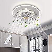 照明とリモコン、LED天井灯付きの天井ファン、LED天井灯寝室調光対応7ブレード超薄型調節可能なファンランプファンシャンデリア用リビングルームダイニングルームタイマー,40CM